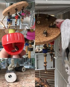 Foraging toy for parrot made with cork, pasta, wood and plastic caps