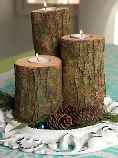 Log Candles - Would be cute with Cinnamon sticks tied around them.