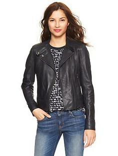 Leather moto jacket. The beauty of this, is it's navy.  I'm getting it.