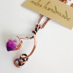 Amethyst Crystal Point Copper Wire Wrapped Vintage Artisan Necklace Jewelry #MBAHandmade #Wrap