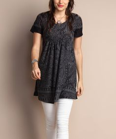Love this Charcoal Floral Empire-Waist Tunic Dress - Plus by Reborn Collection on #zulily! #zulilyfinds