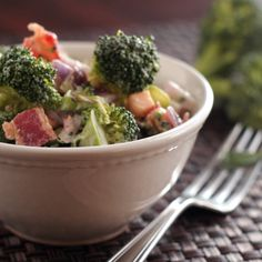 Easy Thai-Flavored Raw Broccoli Salad Recipe with Red Onion, Mint, and ...