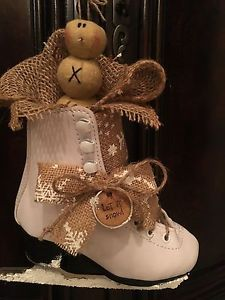 Primitive Christmas Honey and Me Let It Snow Snowman Ice Skate Burlap Snowflake