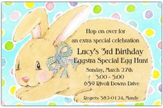 Features a friendly bunny on a sky blue background with pastel polka dots. #EasterInvitation