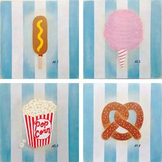 Snack Specimens - Acrylic and gouache paintings by Tina Jett