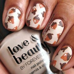 "This acorn design will definitely put you in a fall-y mood. Products used: Love & Beauty ""Beige"" and Mentality ""Matte Top Coat"". To paint the acorns, use a nail art brush and acrylic paints.  #fall"