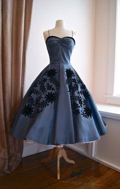 Vintage 50s Natlynn Full Skirt Cocktail Dress Slate Blue with Floral Applique