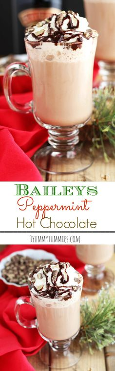 Baileys and Peppermint Schnapps. | The perfect hot chocolate is one with Baileys and Peppermint Schnapps and topped with whipped cream. @3yummytummies