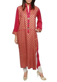 PINK CHECKERED PAKISTANI/INDIAN DESIGNER LONG SHIRT/KURTA/KURTI/TOP