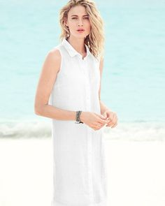 """Simple, easy, timeless — there's a reason this look never went out of style. The classic shirtdress in a flattering A-line silhouette travels beyond trends and into """"wardrobe staple"""" territory. The elegant collar and buttons are all business and the above-knee length is all fun!"""