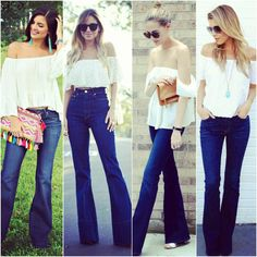 """Today inspirations flare jeans and white off shoulder top. Choose your fav 1, 2, 3, 4?////////////// Inspiración para hoy jeans campana y blusa agua…"""