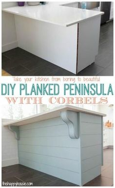 Turn your kitchen from boring builder basic to beautiful with a DIY Planked Peninsula with Corbels tutorial at thehappyhousie.com by joann