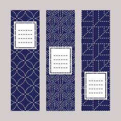 Ensemble de sashiko de bannière. Ornements de broderie japonaise. - Illustration vectorielle