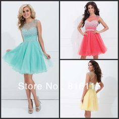 knee length prom dresses | ... Knee-Length-Beaded-High-Neck-Chiffon-Cocktail-Dresses-Short-Prom
