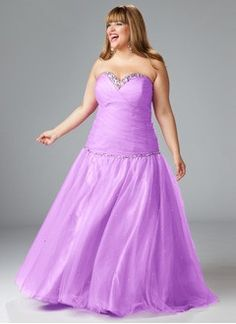 A-Line/Princess Strapless Sweetheart Floor-Length Tulle Charmeuse Evening Dress With Beading