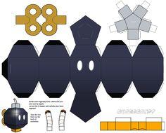 Papercraft Mario Bomb-Omb