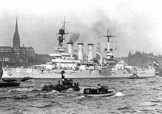 11 in pre-dreadnought SMS Hessen at Kiel in 1912. She fought at Jutland in 1916, her obsolete Squadron having been included in the High Seas Fleet's sortie against CinC Admiral Scheer's better judgment (he was its former Commander).