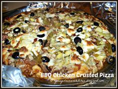Ginny's Low Carb Kitchen: BBQ Chicken Crusted Pizza