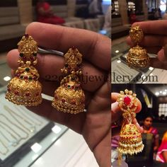 Jewellery Designs: 20grams Gold Jhumkas
