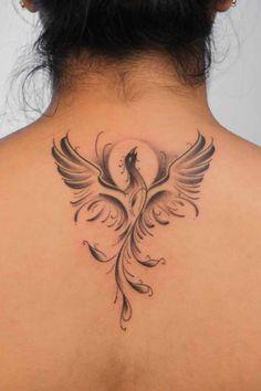 Phoenix Tattoo Feminine, Small Phoenix Tattoos, Small Tattoos, Mini Tattoos, Rose Tattoos, Body Art Tattoos, Tattoo Roses, Feniks Tattoo, Tatoo Neck