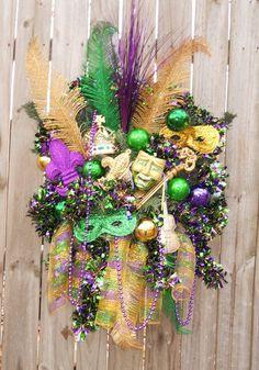 Mardi Gras Wreath New Orleans Style Door Wreath Fleur De Lis. $91.97, via Etsy.