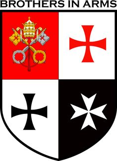 Brothers in Arms shirt featuring the symbols of the Knights Templar, Hospitaller, Teutonic Knights & the Pope.