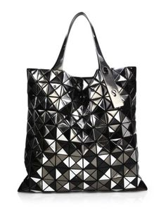 Bao Bao Issey Miyake - Platinum Mix Faux Patent Leather Tote Black Tote  Purse 9497da1e0a4ad