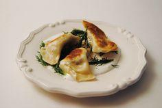 Smoked salmon perogies-------------------------- mashed potatoes, dill, smoked salmon, 1 carper, cream cheese