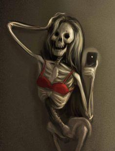 Vanitas, social, selfie, nude, naked, skeleton, death, narcissism, new, media, mirror, iphone, smartphone
