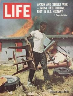 The Watts riots in 1965: Sparked by the arrest of a black motorist, Marquette Frye, for drunk driving. Frye's mother intervened, a crowd gathered and the arrest became a flashpoint for anger against police. After nearly a week of rioting, 34 people, 25 of them black, were dead and more than 1,000 were injured. More than 600 buildings were damaged or destroyed.