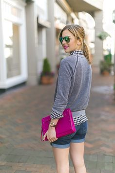 A brightly colored clutch is a great way to pop some color into your outfit!