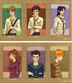 Remus, James, Sirius, Hermione, Harry, Ron