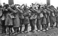 British soldiers, suffering from blindness, awaiting medical treatment following…