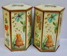 Pair of Vintage Belgian Honey Bee & Flower Hexagonal Meli Honey Tins
