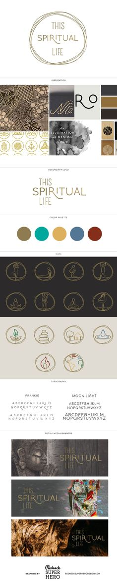 Branding, Brand Board, Gold, circle, lines, clean, hand drawn, hand written, yoga, organic, minimal, buddhist, buddhism, buddha, meditation, meditate, earth What we did: Logo Design Color Palette Icons Social Media Branding Logo Variant