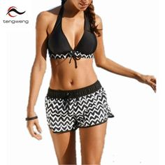 008b6c7db2d5e 2018 Sexy Women Black Wave Stripe Print Swimwear Push Up Tankini Top Bathing  Suit Swimsuit Plus Size Shorts Halter Bikini 4XL