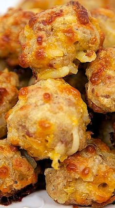 Sausage & Hash Brown Balls 1 lb hot sausage, uncooked 8 oz cream cheese, softened 1 cups Bisquick 1 cups cheddar cheese, shredded package frozen shredded hash brown potatoes (about 4 cups) Preheat oven to minutes, Breakfast Dishes, Breakfast Time, Breakfast Recipes, Breakfast Finger Foods, Breakfast Tailgate Food, Breakfast Party Foods, Breakfast Potatoes, Brunch Recipes, Appetizer Recipes