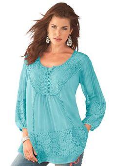 Amazon: Roamans Plus Size Lace Bib Angel Tunic Denim 24/7 ...