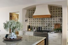 Taj Mahal Quartzite, Honed on the Island and Leathered on Surrounding Cabintery, complements the Arto Brick Backsplash in the Kitchen, Dallas Amante Interiors Taj Mahal Quartzite, Cathedral City, Interior Design Companies, Interiores Design, Backsplash, Dallas, Brick, Kitchens, Interiors