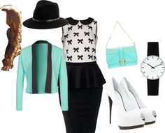 """Mint Green Church outfit"" by toric95 on Polyvore --- don't really like the hat with this outfit tho"
