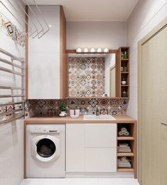 Small Closet Makeover Diy Toilets Ideas For 2019 Modern Laundry Rooms, Laundry Room Layouts, Laundry Room Storage, Laundry In Bathroom, Modern Bathroom, Laundry Room Design, Bathroom Design Small, Bathroom Interior Design, Laundry Room Inspiration