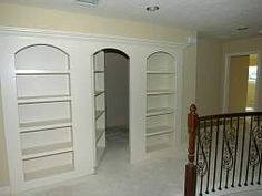 Secret/Safe Room - Great hiding place for home security for family in case an intruder enters your home. #homesecurity --- I love that only one would open so that even if they did catch on, they would have a one in three chance of getting it wrong and while they were going to the wrong door I would go to another hiding place.
