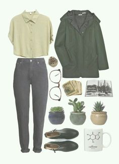 Pinterest : Emilie Thadey Hipster Starter Pack, Green Parka, Green Coat, Raincoat Outfit, Bad Acne, Writing Songs, Aesthetic Yellow, Grunge Boots, Cuffed Jeans