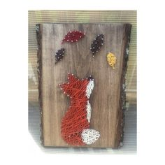 String art fox with fall leaves Adorable fall fox string art. Stained wood. 11x14 inches Other