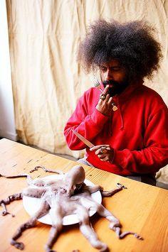 Reggie Watts w octopus, Portland OR by jellyfishheart, via Flickr