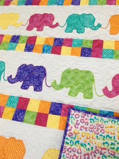 Elephant Baby Quilt for sale from http://www.HomeSewnByCarolyn.com