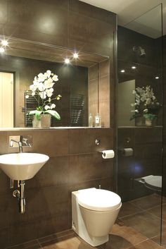 recessed mirror ledge edged in stainless steel contemporary compact cloakroom powder room