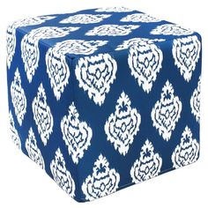 The deep blue and white damask print of this cotton and foam outdoor ottoman will lend a stylish tone to your patio space. Crafted by artisans in India, this charming ottoman can function as an accent table by adding a tray, or as a foot rest or seat.