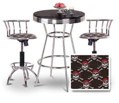 "Chrome Bar Table & 2 Chrome Adjustable 24""-29"" Pirate Skull and Crossbones Fabric Seat Barstools by The Furniture Cove. $348.88. 24"" to 29"" Adjustable Seat Height. Pirate Skull and Crossbones Fabric Print Seat. Chrome Metal Finish Stools. 3 Piece Set includes Table and 2 24""-29"" Bar Stools. Swivel Seat. This table stands 41 3/4"" tall and is 30"" in diameter. Notice the ""foot bar"" for resting your feet. It is metal chrome with a chrome trim. The top is a nice hardwood which will l..."