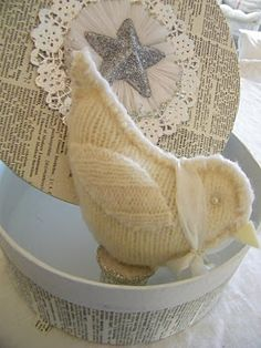 bird ornament made out of a sweater